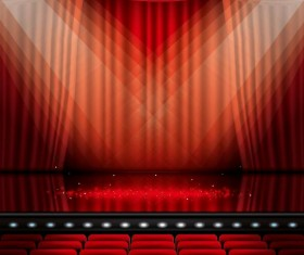 Stage and red curtain vector background 04