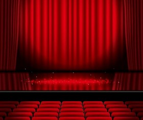 Stage and red curtain vector background 05