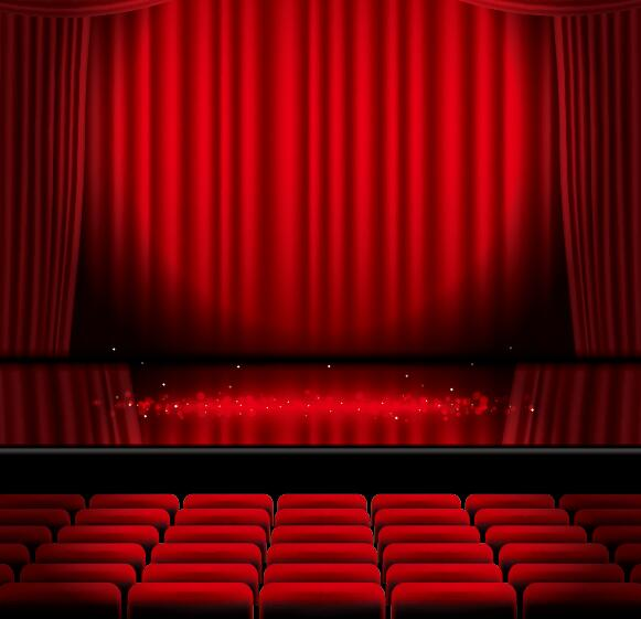 Blue stage curtain background - Stage And Red Curtain Vector Background 05 Vector Background Vector