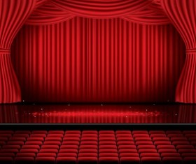 Stage and red curtain vector background 06