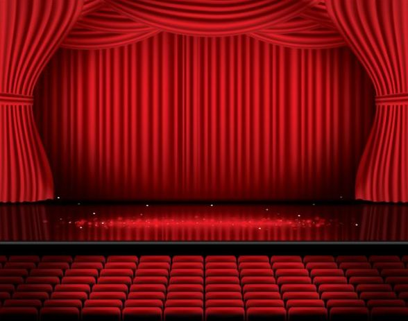 ... Stage And Red Curtain Vector Background 06