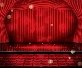 Stage and red curtain vector background 07