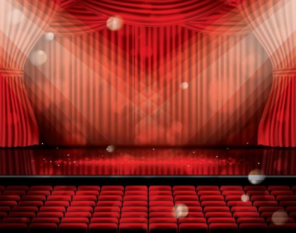 Stage And Red Curtain Vector Background 09