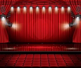 Stage and red curtain vector background 10