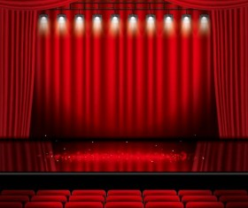 Stage and red curtain vector background 11