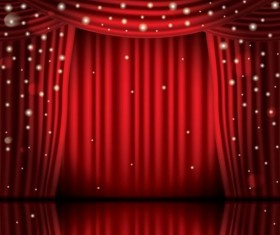 Stage and red curtain vector background 12