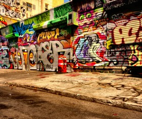 Street graffiti on the shop Stock Photo