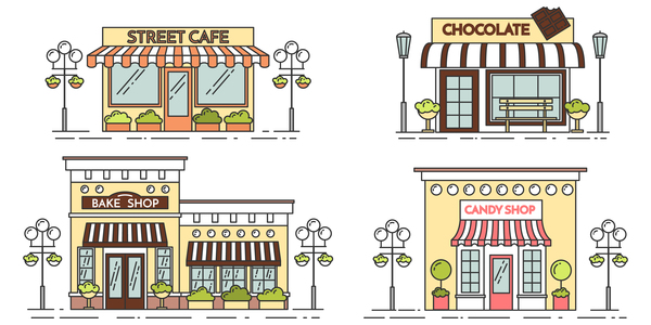 Street store vector template 01