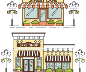 Street store vector template 02