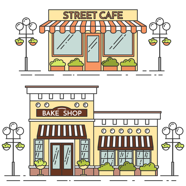 Street store vector template 02