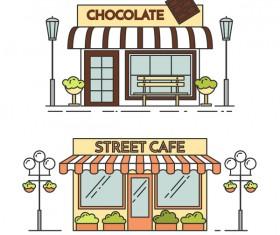 Street store vector template 04