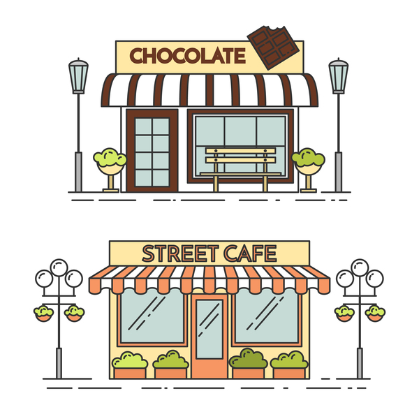 Street store vector template 04