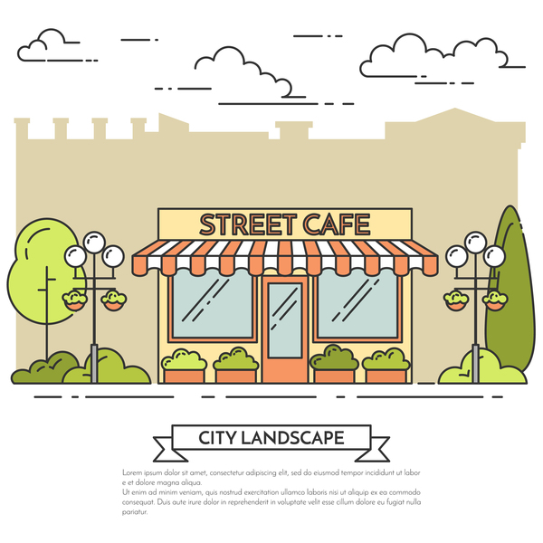 Street sweet shop vector material 01