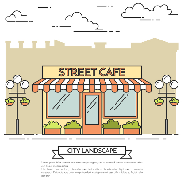 Street sweet shop vector material 03