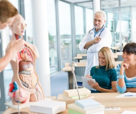 Students on human anatomy lesson Stock Photo