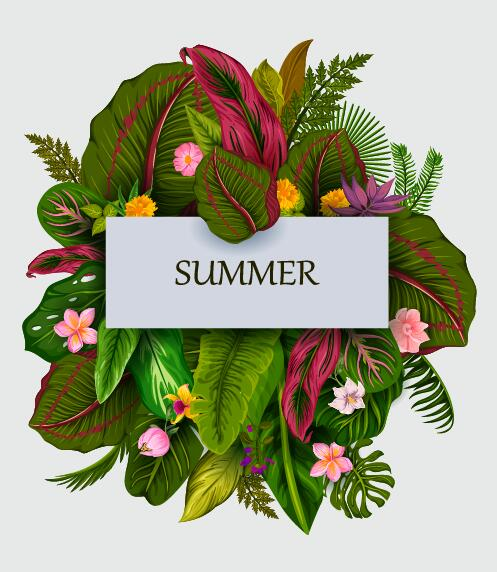 Summer background with tropical plant and flower vector 02