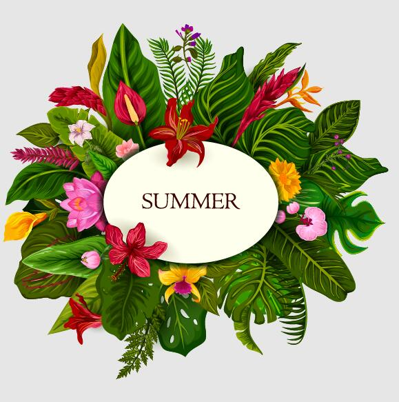 Summer background with tropical plant and flower vector 03