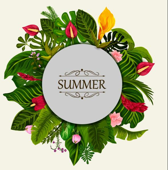 Summer background with tropical plant and flower vector 04
