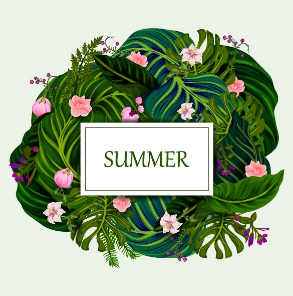 Summer background with tropical plant and flower vector 05