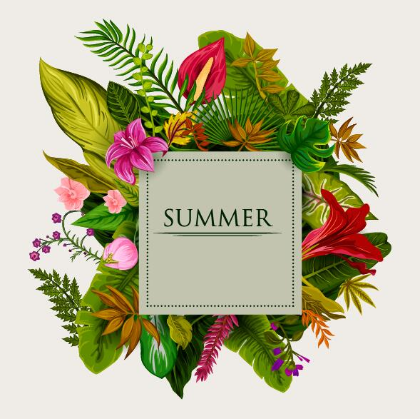 Summer background with tropical plant and flower vector 09