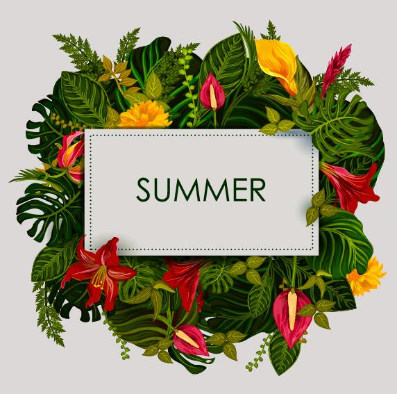 Summer background with tropical plant and flower vector 10