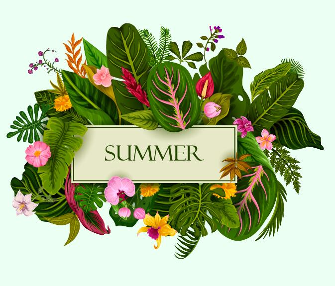 Summer background with tropical plant and flower vector 11
