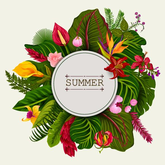 Summer background with tropical plant and flower vector 12