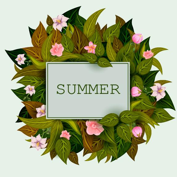 Summer background with tropical plant and flower vector 14