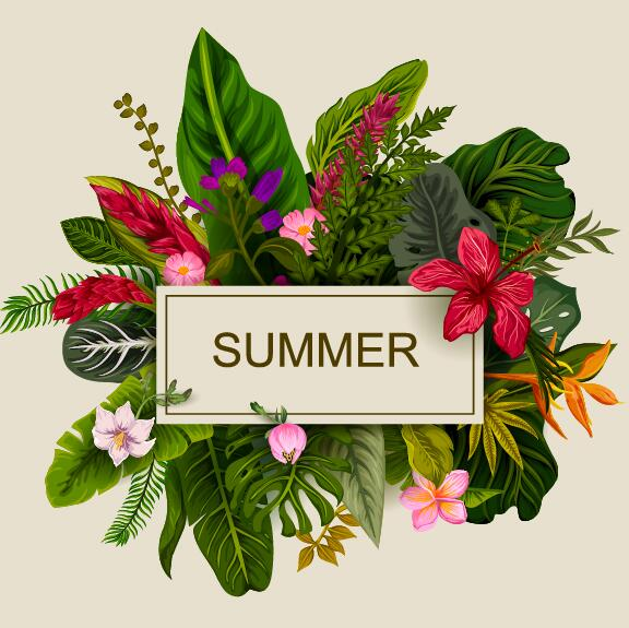 Summer background with tropical plant and flower vector 15