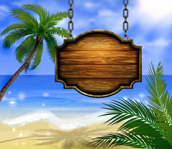Summer beach with wooded sign vector background 02