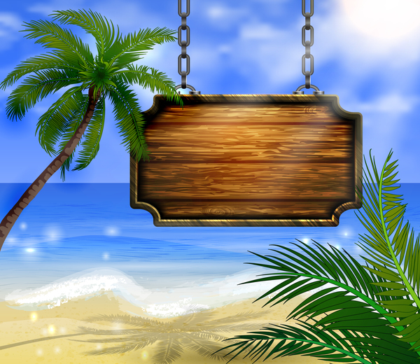 Summer beach with wooded sign vector background 03