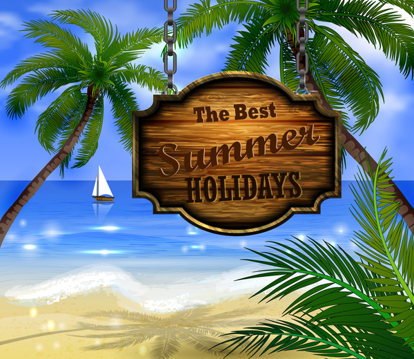 Summer beach with wooded sign vector background 04
