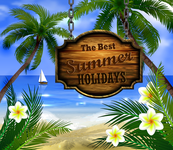 Summer beach with wooded sign vector background 05