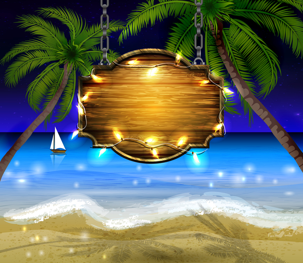 Summer beach with wooded sign vector background 06