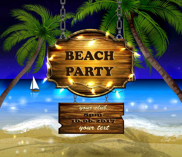 Summer beach with wooded sign vector background 07