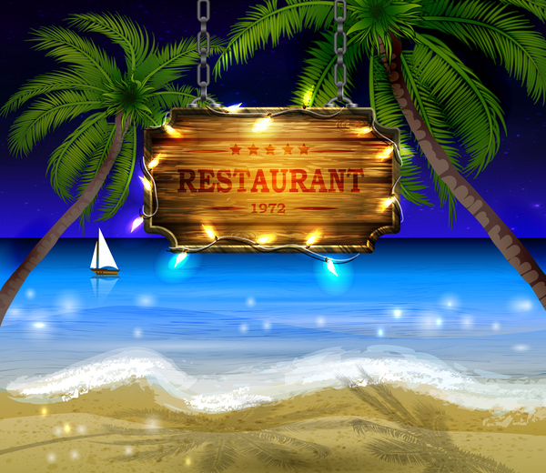 Summer beach with wooded sign vector background 08