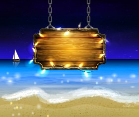 Summer beach with wooded sign vector background 09