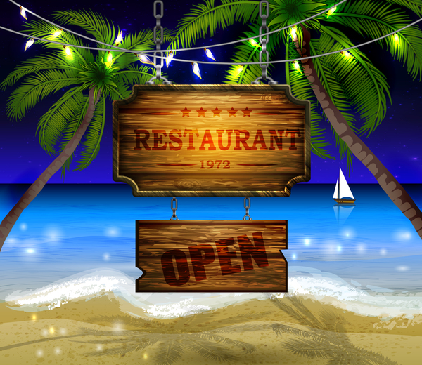 Summer beach with wooded sign vector background 10