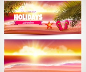 Summer holiday banner with sunset vector