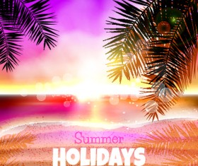 Summer holiday beach with purple background vector