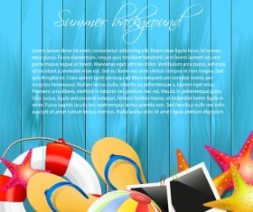 Summer holiday elements with blue wood background vector 01