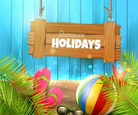 Summer holiday elements with blue wood background vector 02
