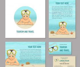 Summer holiday flyer cover with card and banner vector 01