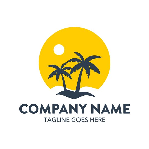 Summer logos with palm tree vectors 01