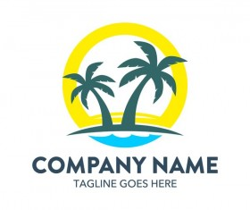 Summer logos with palm tree vectors 06