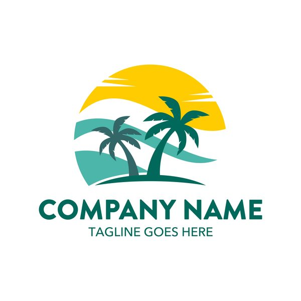 Summer logos with palm tree vectors 07