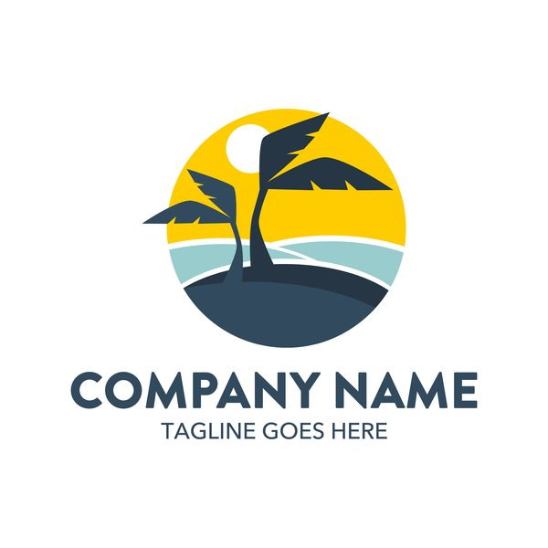 Summer logos with palm tree vectors 08