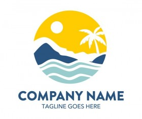 Summer logos with palm tree vectors 10