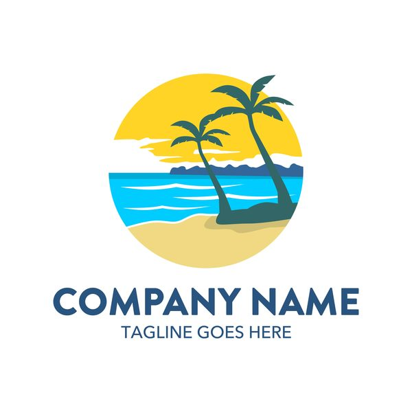 Summer logos with palm tree vectors 11