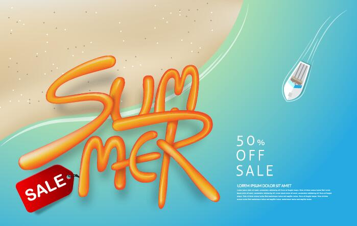 Summer sale poster vector template 04
